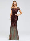 Women'S Cap Sleeve Sequin Dress Mermaid Party Dress-Burgundy 10