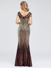 Women'S Cap Sleeve Sequin Dress Mermaid Party Dress-Gold 12