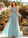 Women'S Elegant V Neck Floor Length Bridesmaid Dress-Dusty Blue 4