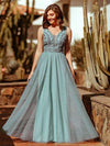 Women'S Elegant V Neck Floor Length Bridesmaid Dress-Dusty Blue 1