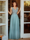 Women'S Elegant V Neck Floor Length Bridesmaid Dress-Dusty Blue 6