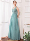 Women'S Elegant V Neck Floor Length Bridesmaid Dress-Dusty Blue 13