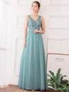Women'S Elegant V Neck Floor Length Bridesmaid Dress-Dusty Blue 14