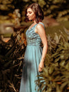 Women'S Elegant V Neck Floor Length Bridesmaid Dress-Dusty Blue 10