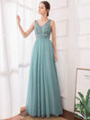Women'S Elegant V Neck Floor Length Bridesmaid Dress-Dusty Blue 11