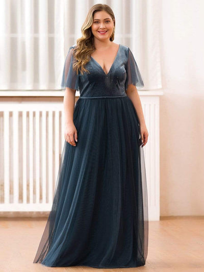 Plus Size Women's V-Neck Short Sleeve Floor Length Evening Dress