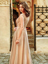 Women'S A-Line See-Through Cap Sleeve Evening Dress-Beige 5