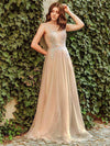 Women'S A-Line See-Through Cap Sleeve Evening Dress-Beige 7