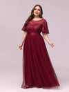 Women'S A-Line Short Sleeve Embroidery Floor Length Evening Dresses-Burgundy 4