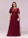 Women'S A-Line Short Sleeve Embroidery Floor Length Evening Dresses-Burgundy 7