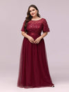 Plus Size Women'S Embroidery Evening Dresses With Short Sleeve-Burgundy 1