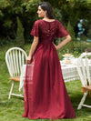 Women'S A-Line Short Sleeve Embroidery Floor Length Evening Dresses-Burgundy 2