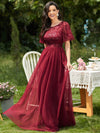 Women'S A-Line Short Sleeve Embroidery Floor Length Evening Dresses-Burgundy 1