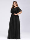 Plus Size Women'S Embroidery Evening Dresses With Short Sleeve-Black 3