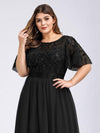 Plus Size Women'S Embroidery Evening Dresses With Short Sleeve-Black 5