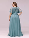 Plus Size Women'S Embroidery Evening Dresses With Short Sleeve-Dusty Blue 2