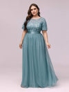 Plus Size Women'S Embroidery Evening Dresses With Short Sleeve-Dusty Blue 3