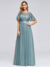 Women'S A-Line Short Sleeve Embroidery Floor Length Evening Dresses-Dusty Blue 1