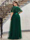 Plus Size Women'S Embroidery Evening Dresses With Short Sleeve-Dark Green 2