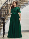 Plus Size Women'S Embroidery Evening Dresses With Short Sleeve-Dark Green 3