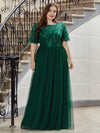 Plus Size Women'S Embroidery Evening Dresses With Short Sleeve-Dark Green 4