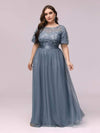Women'S A-Line Short Sleeve Embroidery Floor Length Evening Dresses-Dusty Navy 9