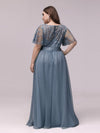 Plus Size Women'S Embroidery Evening Dresses With Short Sleeve-Dusty Navy 2