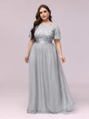 Plus Size Women'S Embroidery Evening Dresses With Short Sleeve-Grey 3