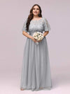 Plus Size Women'S Embroidery Evening Dresses With Short Sleeve-Grey 4