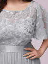 Plus Size Women'S Embroidery Evening Dresses With Short Sleeve-Grey 5