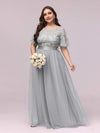 Women'S A-Line Short Sleeve Embroidery Floor Length Evening Dresses-Grey 7