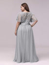 Plus Size Women'S Embroidery Evening Dresses With Short Sleeve-Grey 2