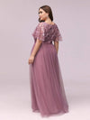 Plus Size Women'S Embroidery Evening Dresses With Short Sleeve-Purple Orchid 2