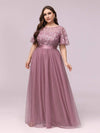Plus Size Women'S Embroidery Evening Dresses With Short Sleeve-Purple Orchid 1