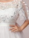 Women'S A-Line Short Sleeve Embroidery Floor Length Evening Dresses-White 7