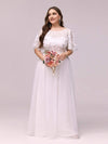 Plus Size Women'S Embroidery Evening Dresses With Short Sleeve-White 1