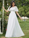 Women'S A-Line Short Sleeve Embroidery Floor Length Evening Dresses-White 1