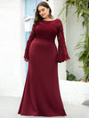 Casaul Bodycon Plus Size Evening Dress with Flare Sleeves-Burgundy 3