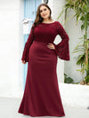 Casaul Bodycon Plus Size Evening Dress with Flare Sleeves-Burgundy 4