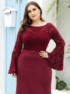 Casaul Bodycon Plus Size Evening Dress with Flare Sleeves-Burgundy 5