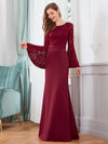 Elegant Round Neckline Lace Mermaid Evening Dress-Burgundy 3