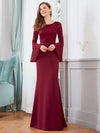 Elegant Round Neckline Lace Mermaid Evening Dress-Burgundy 4