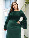 Elegant Round Neckline Lace Mermaid Evening Dress-Dark Green 10
