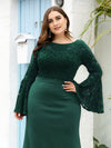 Casaul Bodycon Plus Size Evening Dress with Flare Sleeves-Dark Green 5