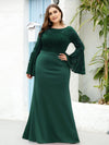Casaul Bodycon Plus Size Evening Dress with Flare Sleeves-Dark Green 1