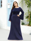 Casaul Bodycon Plus Size Evening Dress with Flare Sleeves-Navy Blue 3