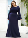 Casaul Bodycon Plus Size Evening Dress with Flare Sleeves-Navy Blue 1