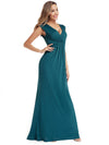 Women'S V-Neck Wrap Sleeveless Floor Length Maxi Dress-Teal  1