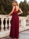 Women'S A-Line V-Neck Floral Lace Appliques Bridesmaid Dress-Burgundy 2