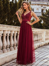 Women'S A-Line V-Neck Floral Lace Appliques Bridesmaid Dress-Burgundy 3